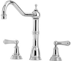Perrin & Rowe Alsace 3 Hole Kitchen Mixer Tap With Lever Handles (Chrome).