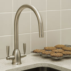 Perrin & Rowe Oberon Kitchen Mixer Tap With Twin Lever Handles (Pewter).
