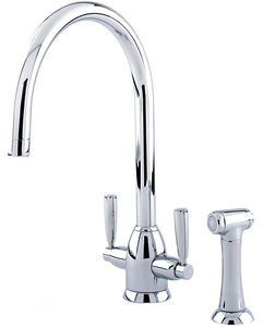 Perrin & Rowe Oberon Kitchen Tap With Lever Handles & Rinser (Chrome).