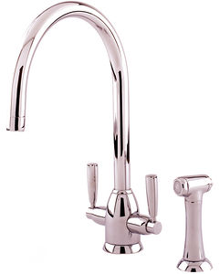 Perrin & Rowe Oberon Kitchen Tap With Lever Handles & Rinser (Nickel).