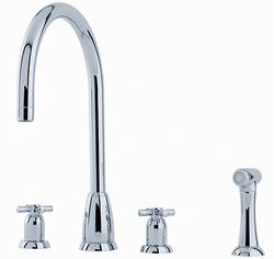 Perrin & Rowe Callisto 4 Hole Kitchen Tap, X-Head Handles & Rinser (Chrome).