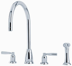 Perrin & Rowe Callisto 4 Hole Kitchen Tap With Lever Handles & Rinser (Chrome).