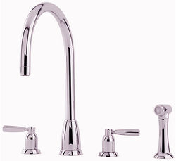 Perrin & Rowe Callisto 4 Hole Kitchen Tap With Lever Handles & Rinser (Nickel).