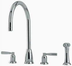 Perrin & Rowe Callisto 4 Hole Kitchen Tap With Lever Handles & Rinser (Pewter).