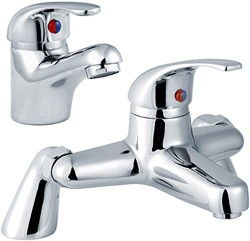 Crown D-Type Basin & Bath Filler Tap Set (Chrome).