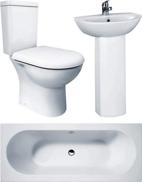 Crown Suites Knedlington Bathroom Suite With Double Ended Bath (1700x700mm).