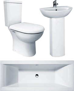 Crown Suites Knedlington Bathroom Suite With Double Ended Bath (1700x700mm).
