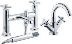 Crown Series 1 Basin & Bath Shower Mixer Tap Set (Chrome).