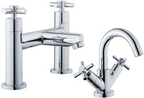 Crown Series 1 Basin & Bath Filler Tap Set (Chrome).