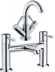Crown Series 2 Basin & Bath Filler Tap Set (Chrome).