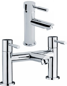 Crown Series 2 Bath Filler And Single Lever Basin Tap Set (Chrome).