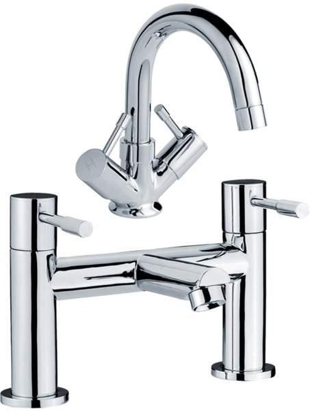 Crown Series 2 Economy Basin & Bath Filler Tap Set (Chrome).