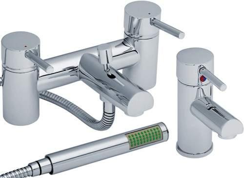Crown Series FII Basin & Bath Shower Mixer Tap Set (Chrome).