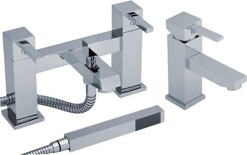Crown Series L Basin & Bath Shower Mixer Tap Set (Chrome).