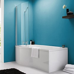 Crown Baths Shower Bath With Screen & Panels (1500mm, Left Handed).