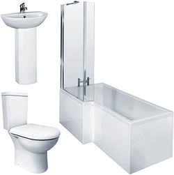 Crown Suites Square Shower Bath Suite, Toilet & Basin (Left Handed).