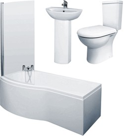 Crown Suites 1500mm Shower Bath Suite With Toilet & Basin (Left Handed).