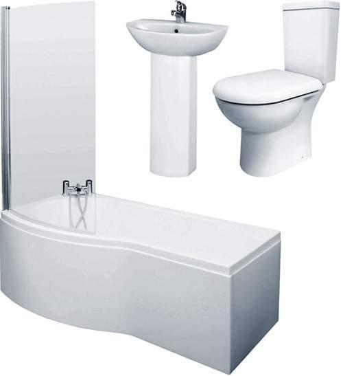 Crown Suites 1700mm Shower Bath Suite With Toilet & Basin (Left Handed).
