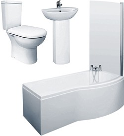Crown Suites 1500mm Shower Bath Suite, Toilet & Basin (Right Handed).