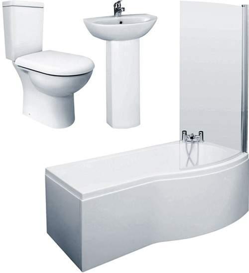 Crown Suites 1700mm Shower Bath Suite, Toilet & Basin (Right Handed).