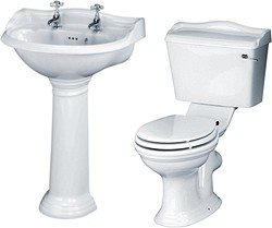 Crown Ceramics Ryther 4 Piece Bathroom Suite With 600mm Basin (2 Tap Holes).