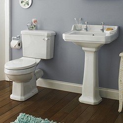 Crown Ceramics Carlton 4 Piece Bathroom Suite, 600mm Basin (2 Tap Holes).