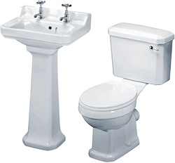 Crown Ceramics Carlton 4 Piece Bathroom Suite, 500mm Basin (2 Tap Holes).