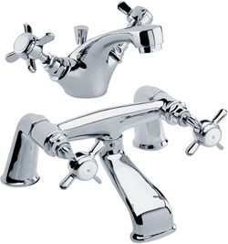 Crown Traditional Basin & Bath Filler Tap Set (Chrome).
