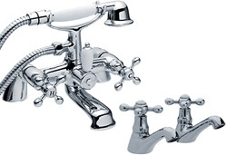 Viscount Basin Taps & Bath Shower Mixer Tap Set (Chrome).