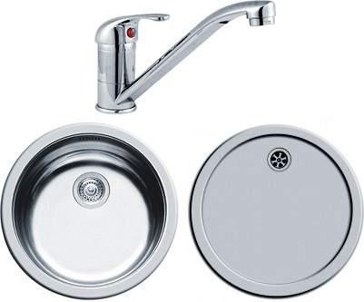 Round Kitchen Sink, Drainer & Tap With Wastes. 450mm Diameter ...