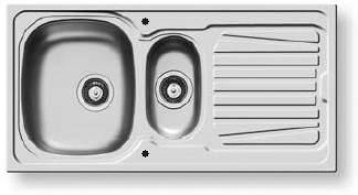 Pyramis Sparta Kitchen Sink & Waste. 1000x500mm (Reversible, 1.5 Bowl).