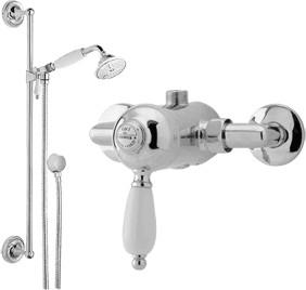 Viscount Manual single lever shower valve with slide rail kit (Chrome)