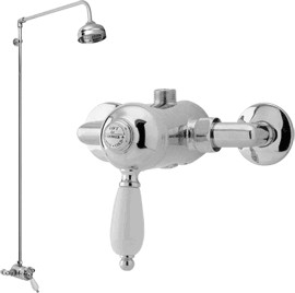 Viscount Manual single lever shower valve with rigid riser kit (Chrome)