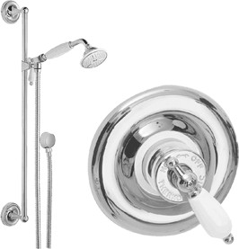 Waterford Sequential thermostatic concealed shower valve & slide rail kit.