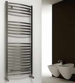 Reina Radiators Diva Curved Towel Radiator (Chrome). 800x400mm.