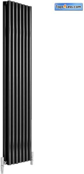 Reina Radiators Round Double Vertical Radiator (Black). 295x1800mm.