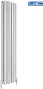 Reina Radiators Round Double Vertical Radiator (White). 295x1800mm.