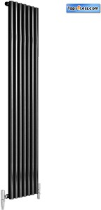 Reina Radiators Round Single Vertical Radiator (Black). 413x1800mm.