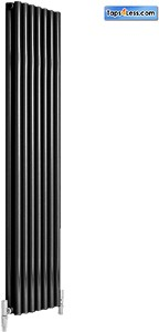 Reina Radiators Round Double Vertical Radiator (Black). 413x1800mm.
