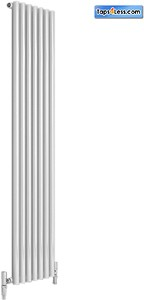 Reina Radiators Round Single Vertical Radiator (White). 413x1800mm.