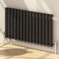 Reina Radiators Sena Horizontal Radiator (Black). 595x550mm.