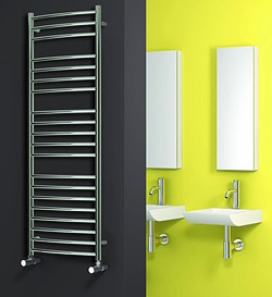 Reina Radiators Eos Curved Towel Radiator (Stainless Steel). 430x600.