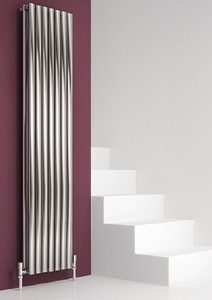 Reina Radiators Nerox Double Vertical Radiator (Brushed Steel). 413x1800.