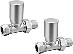 Reina Radiators Portland Straight Radiator Valves (Brushed).