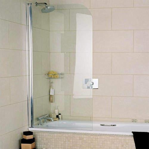 Roman Collage Curved Bath Screen (810x1500mm, Silver).