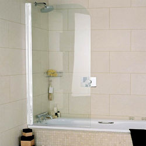 Roman Collage Curved Bath Screen (810x1500mm, White).