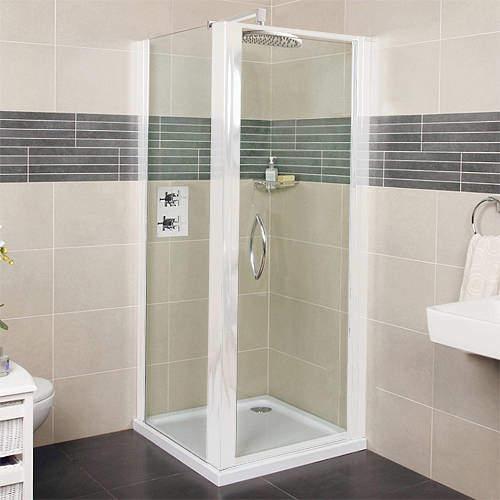 Roman Collage Shower Enclosure With Pivot Door (760x760mm, White).