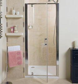 Pivot Shower Door 760mm Silver Frame Roman Embrace Ro