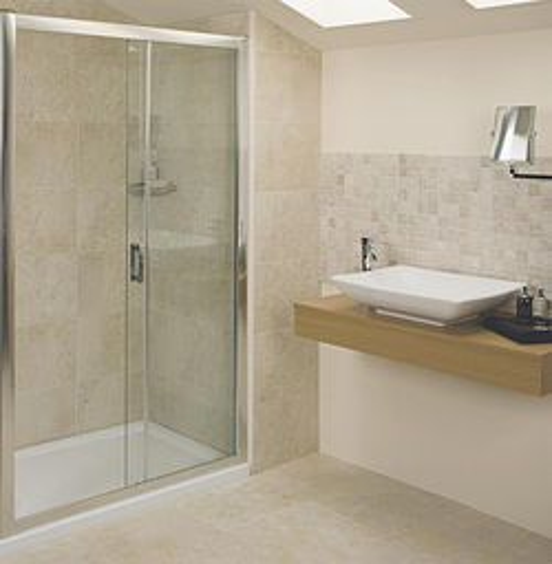 Roman Embrace Sliding Shower Door (1000mm, Silver Frame).