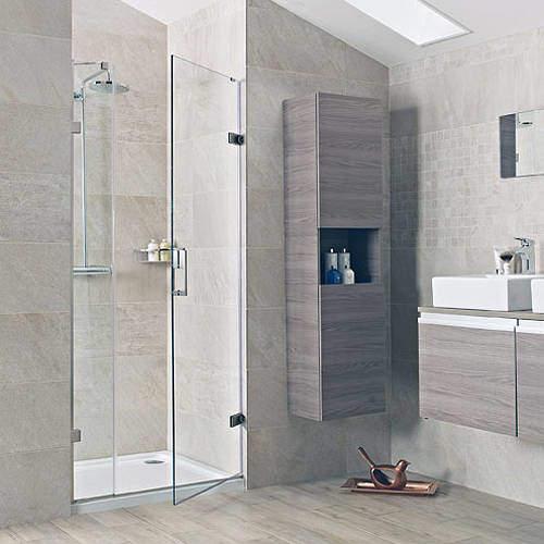 Roman Liber8 Hinged Shower Door With One In-Line Panel (1000, Nickel).